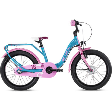 "Vélo Enfant S'COOL NIXE STREET ALU 3V 18"" Turquoise/Rose 2020"